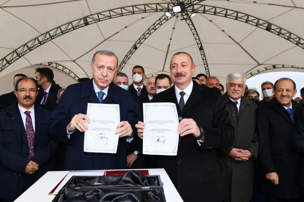 Azerbaijani, Turkish presidents laid foundation stone for Horadiz-Jabrayil-Zangilan-Aghband highway (Zangazur corridor)