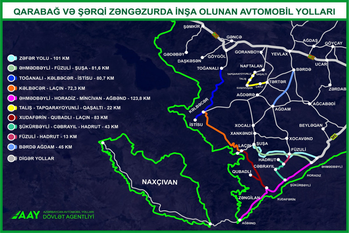 Карта автомобильных дорог, строящихся в Карабахе и Восточном Зангезуре