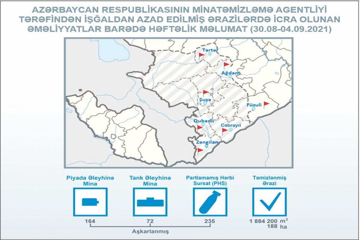 ANAMA: İşğaldan azad edilmiş ərazilərdə ötən həftə 236 mina aşkarlanıb