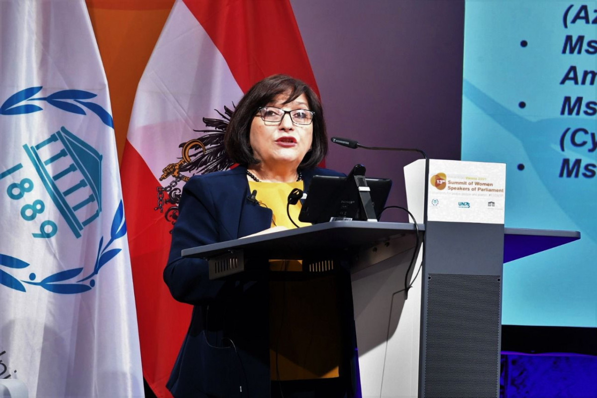 Milli Majlis Chair Sahiba Gafarova Takes the Floor at 13th Summit of Women Speakers of Parliament in Vienna