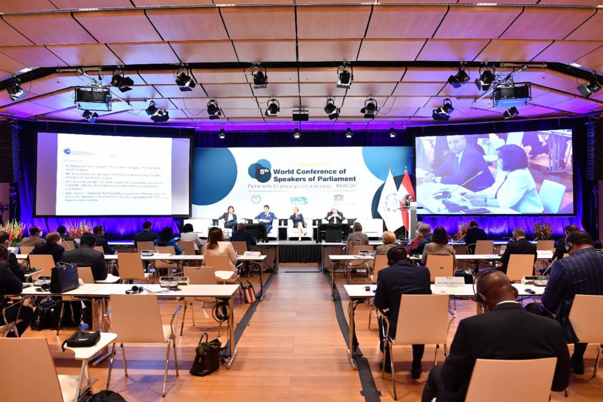 Сахиба Гафарова выступила на V Всемирной конференции спикеров парламентов в Вене