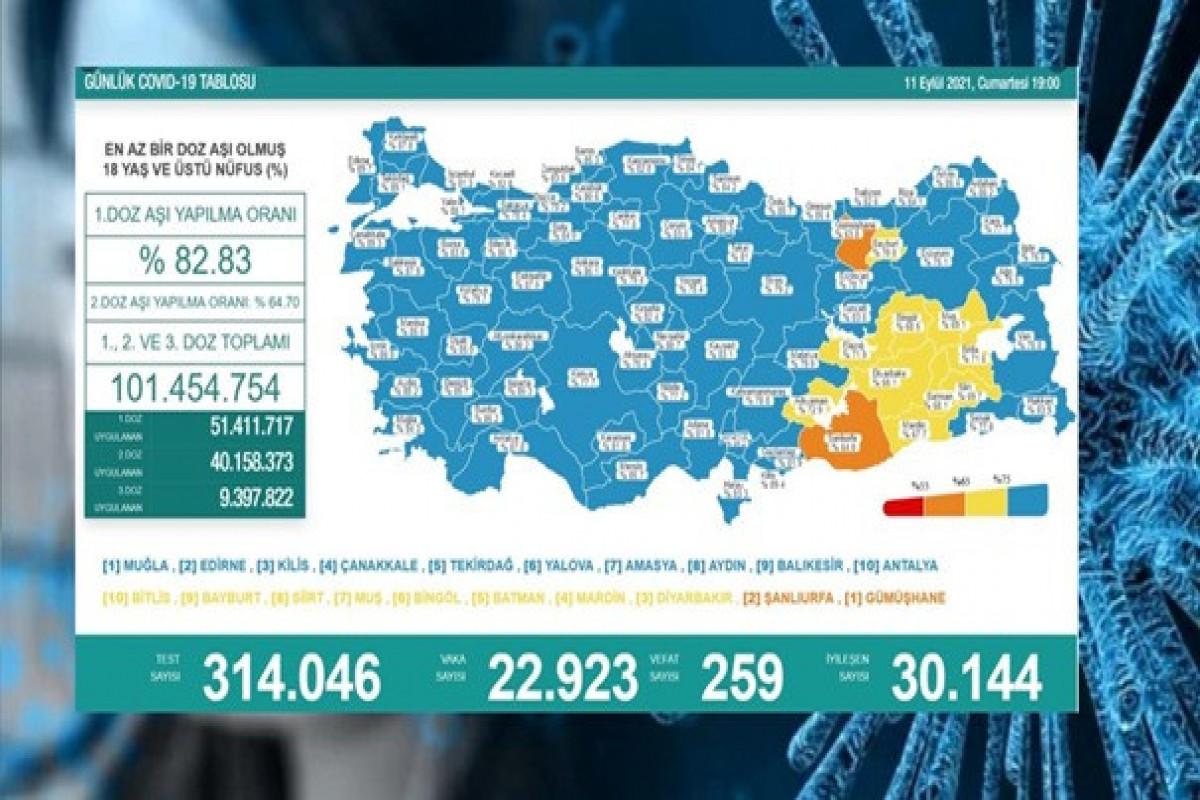 Türkiyədə bu gün koronavirusdan ölənlərin sayı 259 nəfərə çatıb