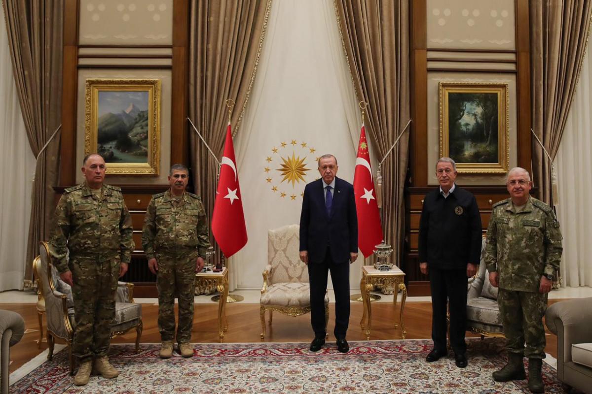 Türkiyə Prezidenti Zakir Həsənovu və Kərim Vəliyevi qəbul edib - VİDEO