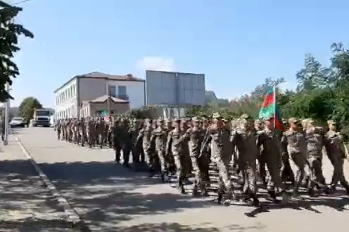 """Military march held in Shusha regarding anniversary of liberation of Baku from Armenian-bolshevik occupation-<span class=""""red_color"""">VIDEO"""