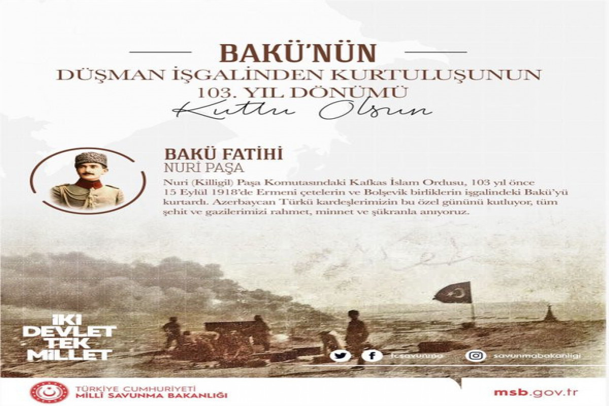 Turkish MoD releases congratulatory message on the occasion of 103rd anniversary of Baku