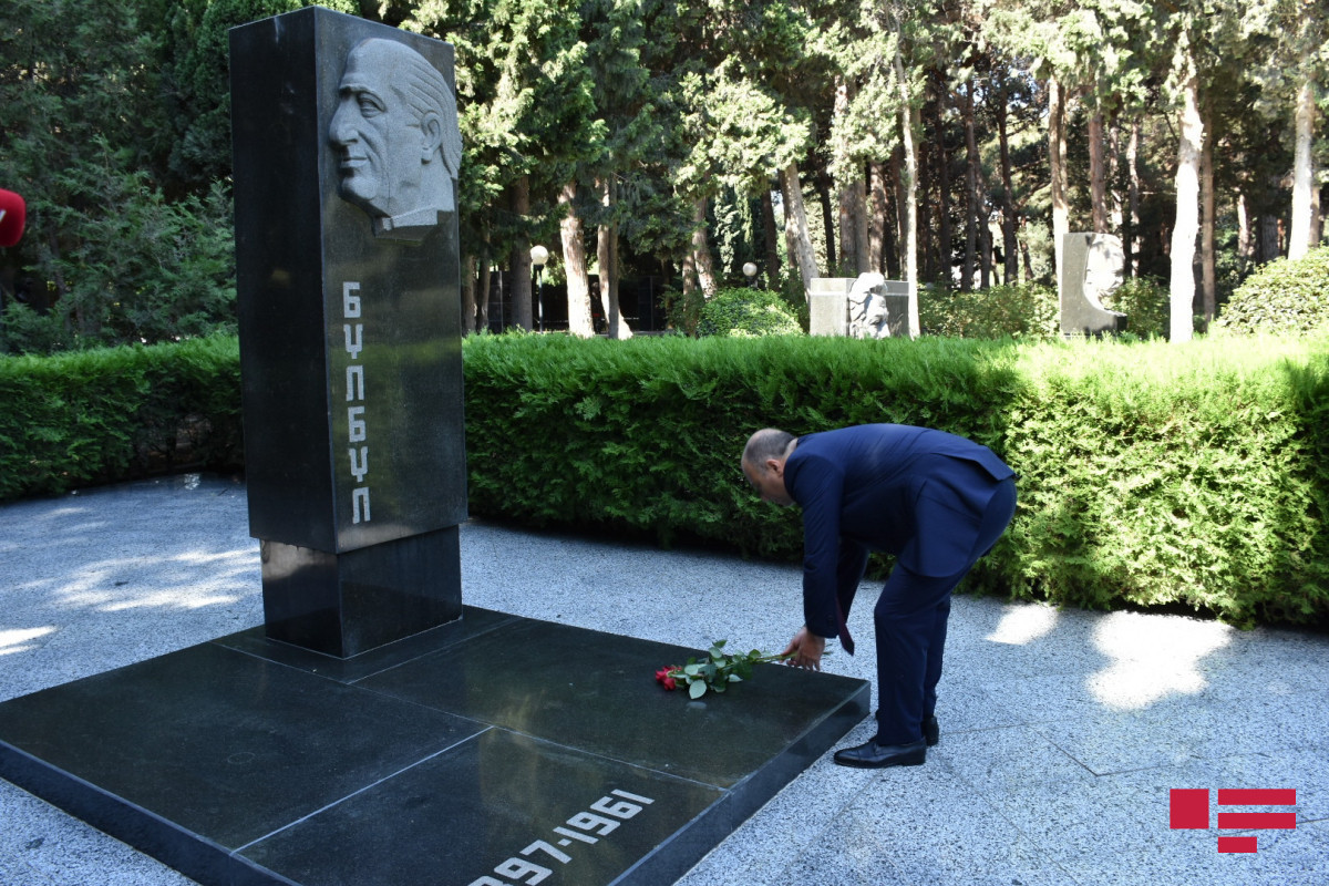 Uzeyir Hajibayli's grave visited in Alley of Honor on the occasion of National Music Day-PHOTOLENT