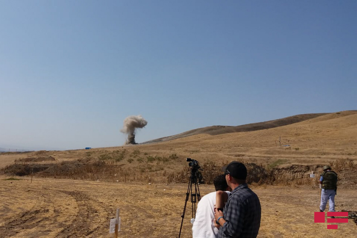 Moment of neutralization of mines by exploding them visually demonstrated to journalists in Fuzuli-PHOTO -PHOTO