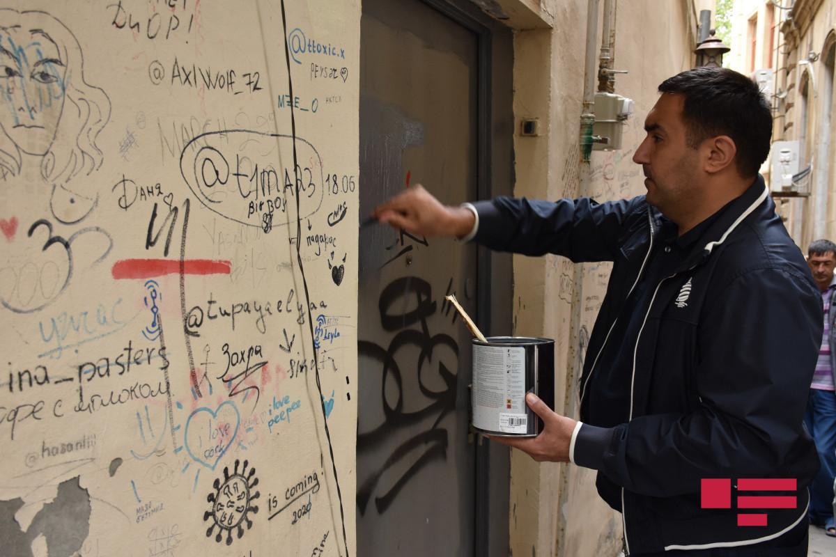 """В Ичеришехере удаляют царапины и надписи на зданиях, памятниках и стенах – <span class=""""red_color"""">ФОТО"""