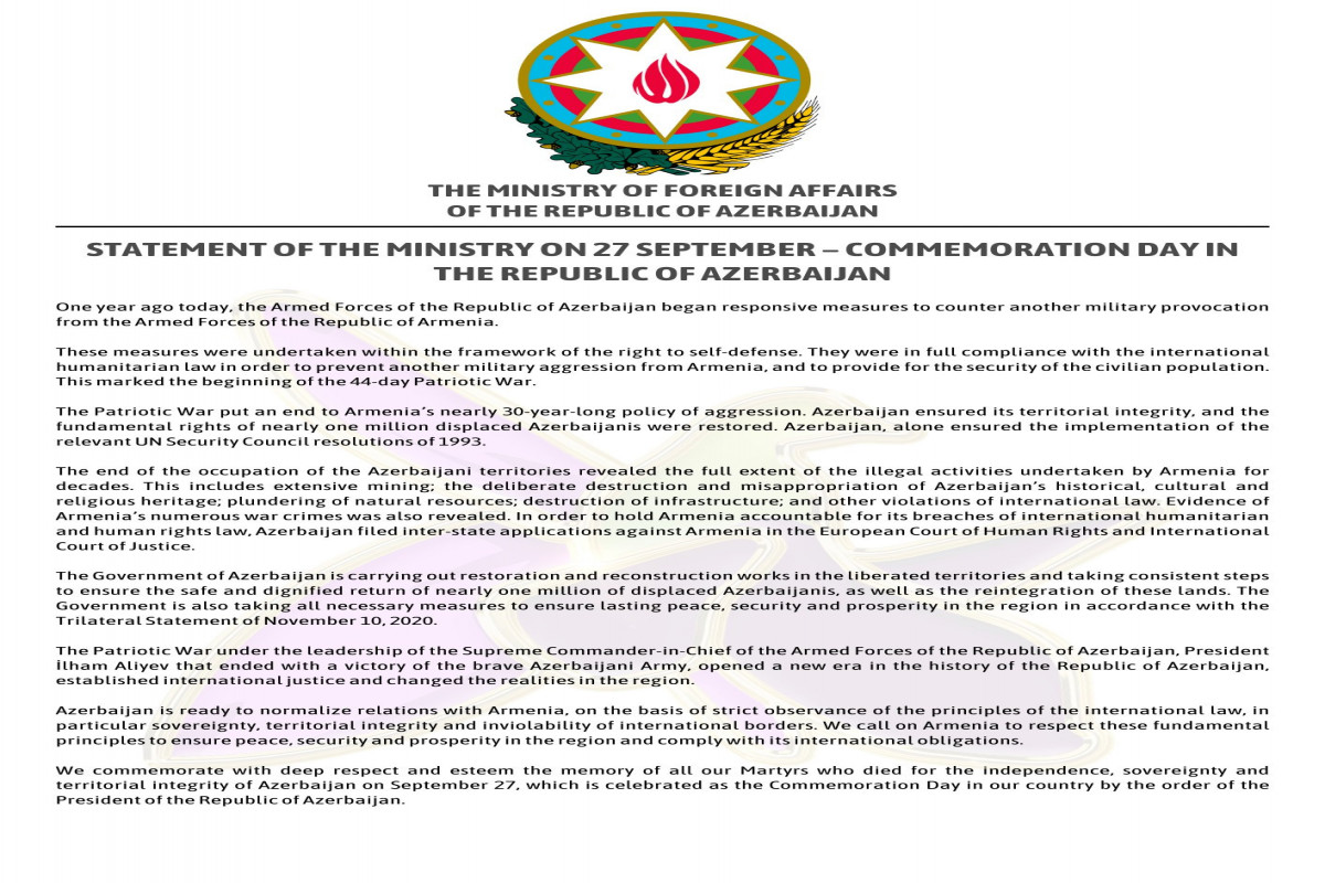 "Azerbaijani MFA releases Statement regarding Commemoration Day-<span class=""red_color"">PHOTO"