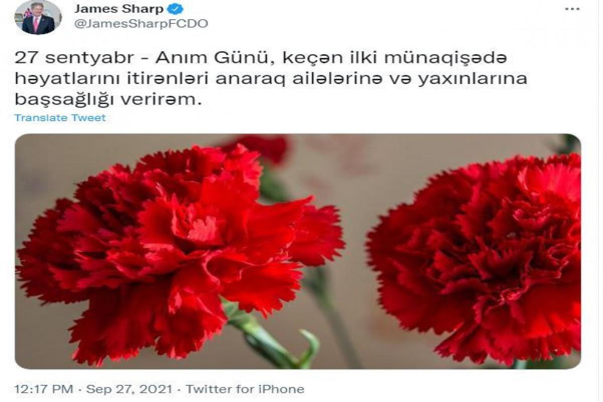 Посол Британии в Азербайджане поделился публикацией в связи с Днем памяти