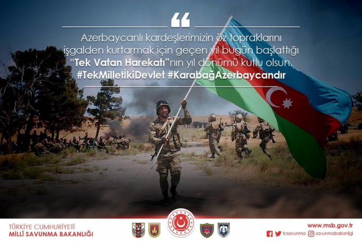 Türkiyə MN Vətən müharibəsinin ildönümü ilə əlaqədar paylaşım edib