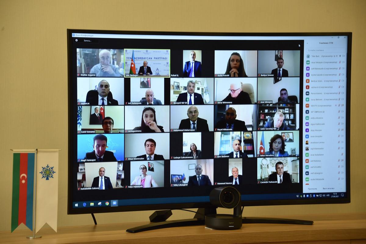 """YAP Mərkəzi Aparatında 27 Sentyabr – Anım Gününə həsr olunmuş videokonfrans keçirilib - <span class=""""red_color"""">FOTO"""