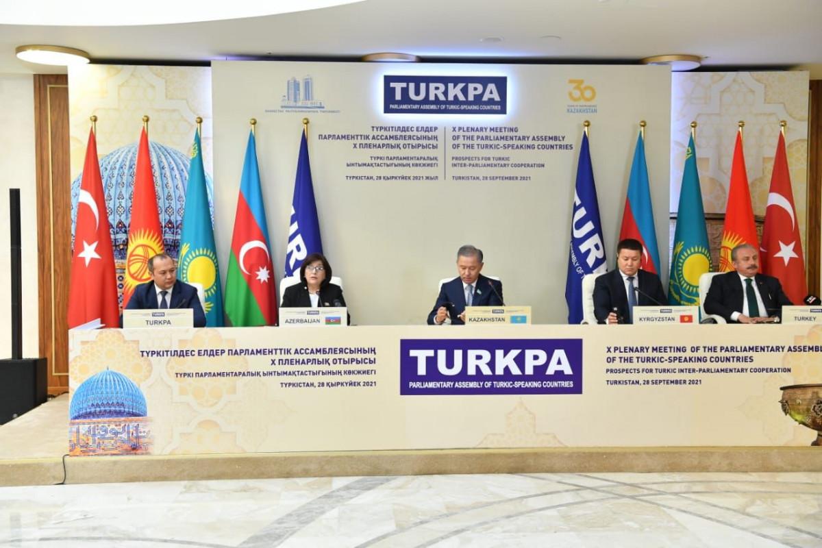 TÜRKPA-ya üzv ölkələrin parlament sədrlərinin iştirakı ilə mətbuat konfransı keçirilib - FOTO